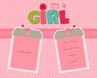 Scheda di arrivo della neonata con i blocchi per grafici royalty illustrazione gratis