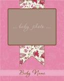 Scheda di arrivo della neonata con il blocco per grafici della foto Immagini Stock