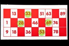 Scheda di Bingo Fotografia Stock Libera da Diritti