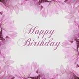 Scheda di buon compleanno con i fiori Fotografie Stock Libere da Diritti