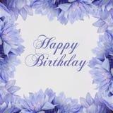 Scheda di buon compleanno con i fiori Fotografia Stock Libera da Diritti