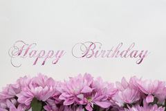 Scheda di buon compleanno con i fiori Fotografia Stock