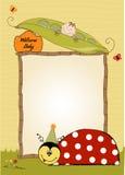 Scheda di buon compleanno con il ladybug illustrazione vettoriale