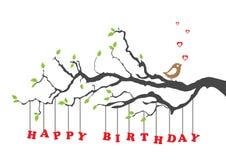 Scheda di buon compleanno con l'uccello Fotografia Stock