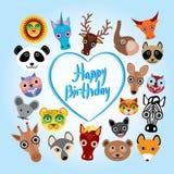 Scheda di buon compleanno fronte animale sveglio divertente Fotografia Stock Libera da Diritti