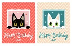 Scheda di buon compleanno Scheda di buon compleanno con il gatto sveglio Cartolina d'auguri Fotografia Stock