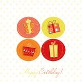 Scheda di compleanno con i contenitori di regalo Fotografie Stock