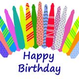 Scheda di compleanno con i legami variopinti Immagini Stock