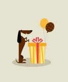 Scheda di compleanno del cane Immagini Stock Libere da Diritti