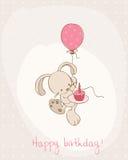 Scheda di compleanno di saluto con il coniglietto sveglio Fotografie Stock