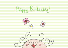 Scheda di compleanno divertente di doodle Immagini Stock