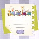 Scheda di compleanno personalizzabile con il treno animale dei giocattoli illustrazione di stock