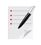 Scheda di controllo con una penna sullo spazio in bianco Fotografia Stock