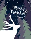 Scheda di festa Buon Natale Cervi illustrazione di stock