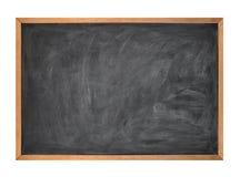 Scheda di gesso nera in bianco del banco su bianco Fotografia Stock