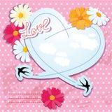 Scheda di giorno dei biglietti di S. Valentino con cuore e gli swallows Immagine Stock Libera da Diritti