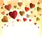 Scheda di giorno dei biglietti di S. Valentino con i cuori Fotografia Stock