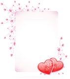 Scheda di giorno dei biglietti di S. Valentino con i fiori Fotografia Stock Libera da Diritti