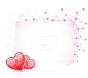 Scheda di giorno dei biglietti di S. Valentino con i fiori Fotografie Stock