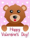 Scheda di giorno dei biglietti di S. Valentino dell'orso dell'orsacchiotto Fotografie Stock Libere da Diritti