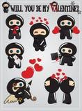 Scheda di giorno del biglietto di S. Valentino di Ninja Immagini Stock