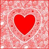 Scheda di giorno di Valentin con cuore Fotografie Stock Libere da Diritti