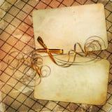 Scheda di Grunge per il disegno con l'arco giallo Immagine Stock