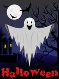 Scheda di Halloween con il fantasma di volo Fotografia Stock Libera da Diritti