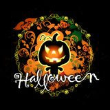 Scheda di Halloween con il mostro della zucca Fotografie Stock