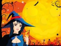Scheda di Halloween con la giovane strega Fotografia Stock