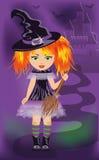 Scheda di Halloween con la giovane strega Fotografia Stock Libera da Diritti