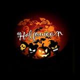 Scheda di Halloween con la zucca ed i mostri Fotografia Stock