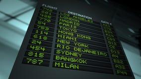 Scheda di informazioni di volo dell'aeroporto Fotografia Stock