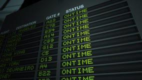 Scheda di informazioni di volo, in tempo Immagine Stock