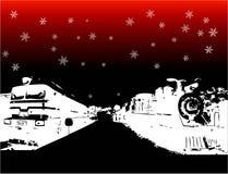 Scheda di inverno con i treni Fotografie Stock