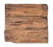 Scheda di legno anziana isolata su priorità bassa bianca fotografia stock