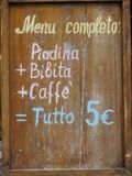 Scheda di legno del menu Fotografia Stock