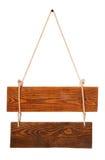 Scheda di legno del segno con la corda Fotografia Stock