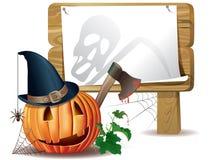 Scheda di legno di Halloween Immagine Stock Libera da Diritti