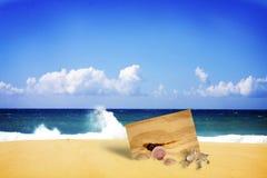 Scheda di legno sepolta in spiaggia fotografia stock libera da diritti