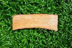 Scheda di legno su erba Fotografie Stock