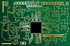 Scheda di madre di alta tecnologia con il chip Fotografia Stock