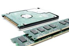 Scheda di memoria della ram del calcolatore dell'estremità del disco fisso Fotografia Stock Libera da Diritti