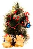 Scheda di nuovo anno con i maiali Fotografia Stock