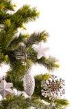 Scheda di nuovo anno con l'pelliccia-albero Fotografie Stock Libere da Diritti