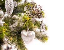 Scheda di nuovo anno con l'pelliccia-albero Immagini Stock Libere da Diritti