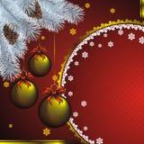 Scheda di nuovo anno con la decorazione del goldenl Fotografia Stock Libera da Diritti
