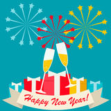 Scheda di nuovo anno felice Fotografie Stock Libere da Diritti