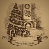Scheda di nuovo anno felice Albero di Natale e camino illustrazione di stock