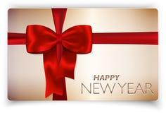 Scheda di nuovo anno felice con l'arco rosso ed il nastro rosso Fotografia Stock Libera da Diritti